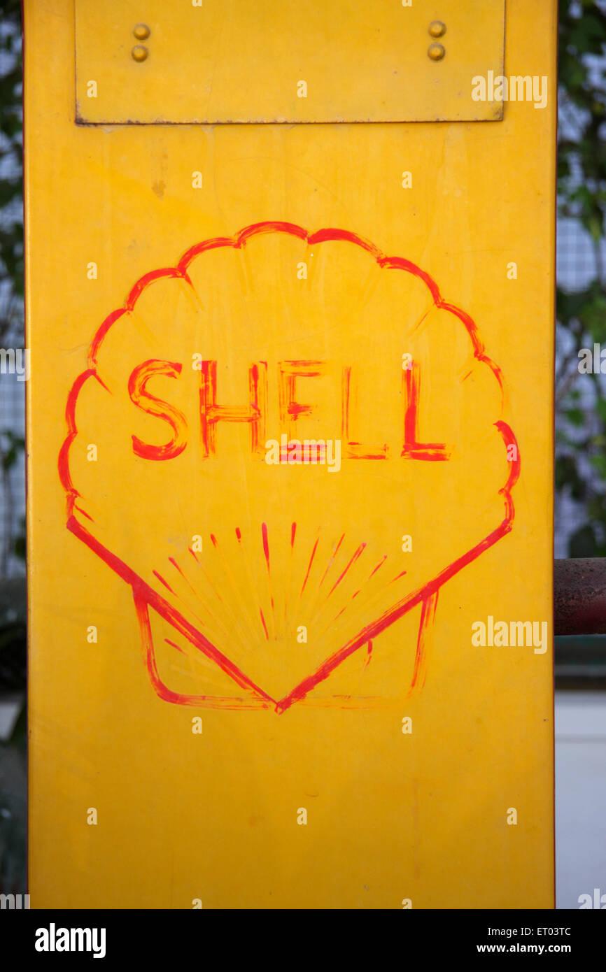 Old Petrol pump by shell ; manual petrol pump - Stock Image