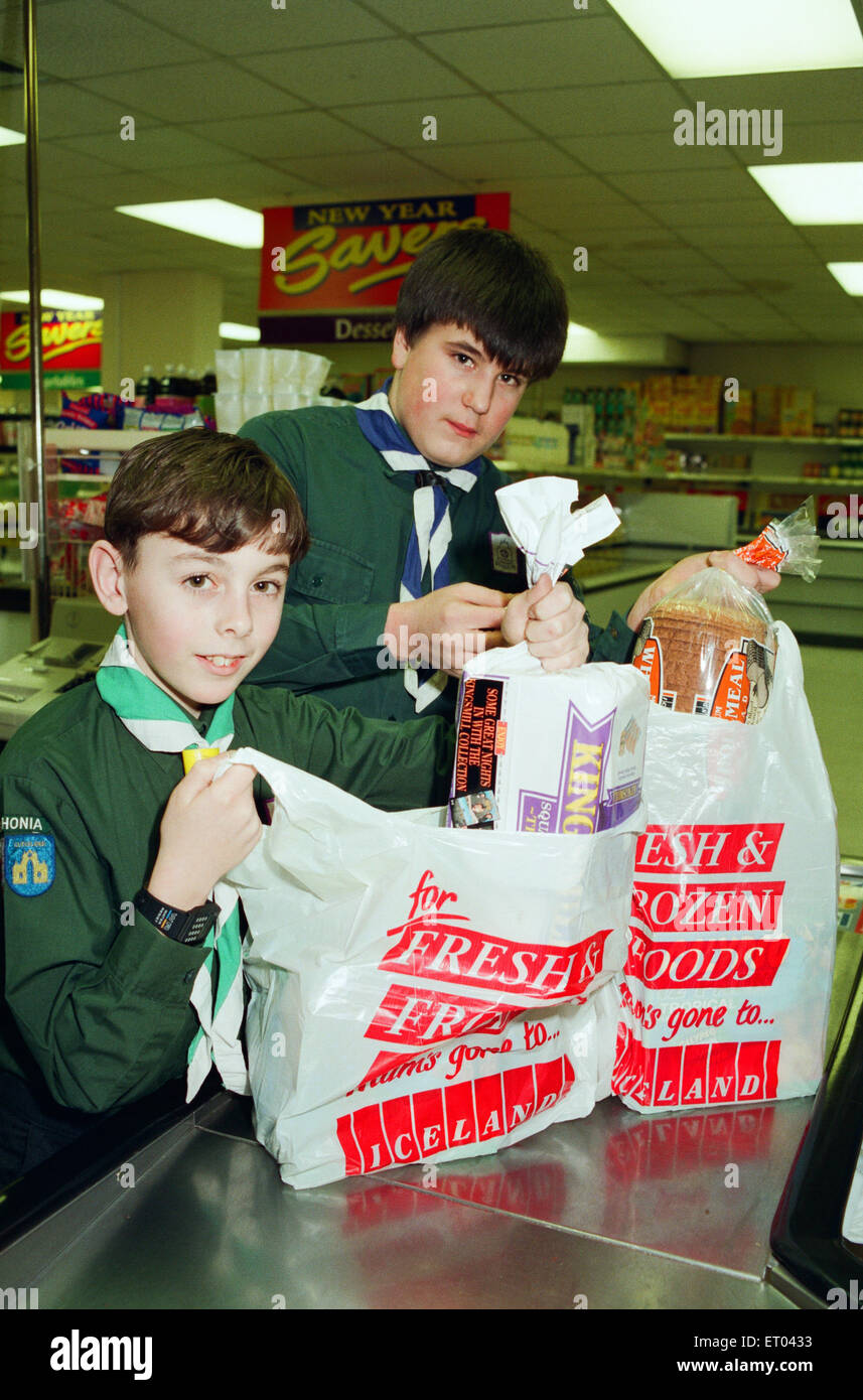 Billingham Scouts raised 1700 pounds helping shoppers in Iceland pack their shopping over the Christmas period. - Stock Image