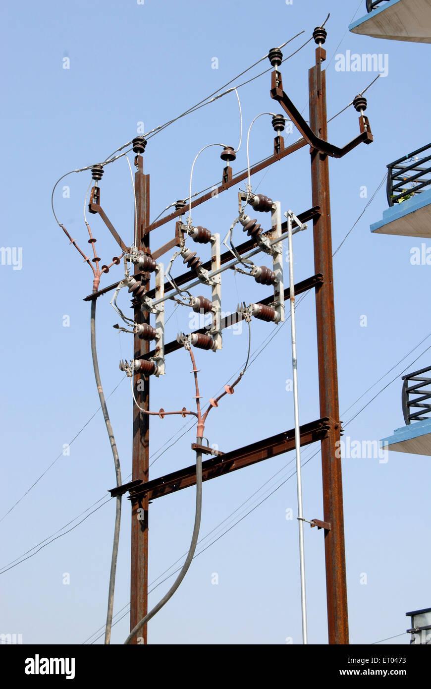 Electric pole ; Jaipur ; Rajasthan ; India November 2008 - Stock Image