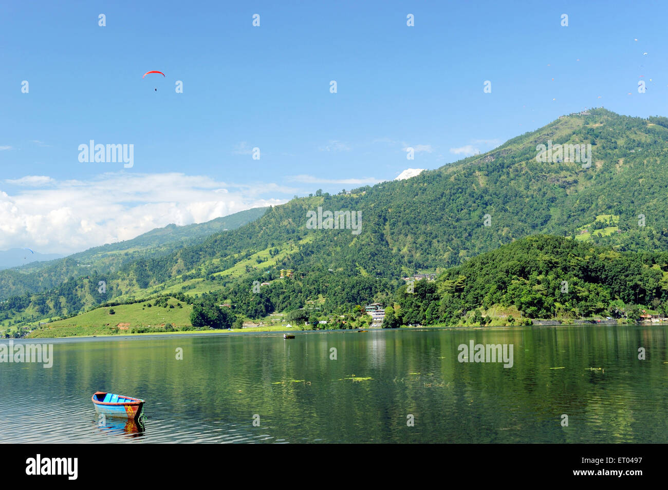 Boat in lake phewa ; Pokhara ; Nepal - Stock Image