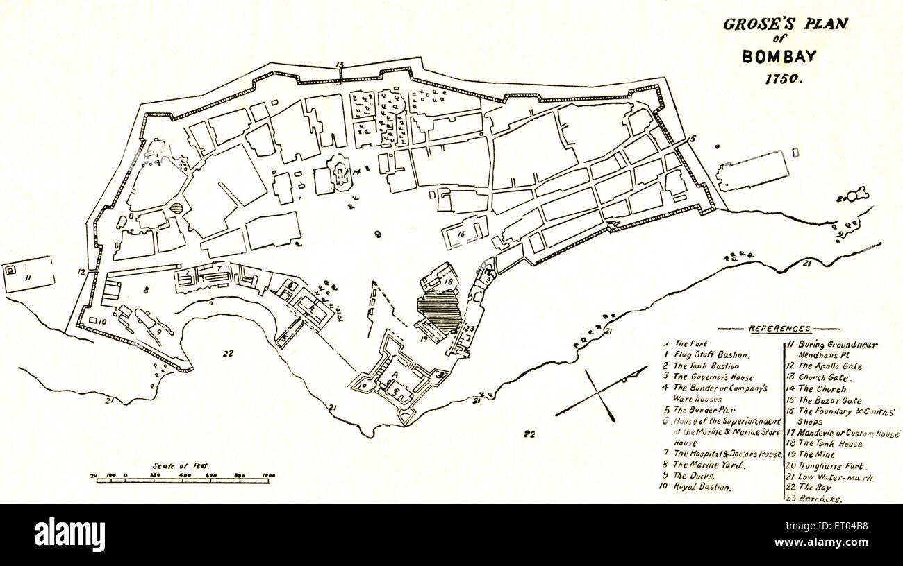 Bombay Map ; Grose's plan of Bombay 1750 ; Mumbai ; Maharashtra ; India - Stock Image