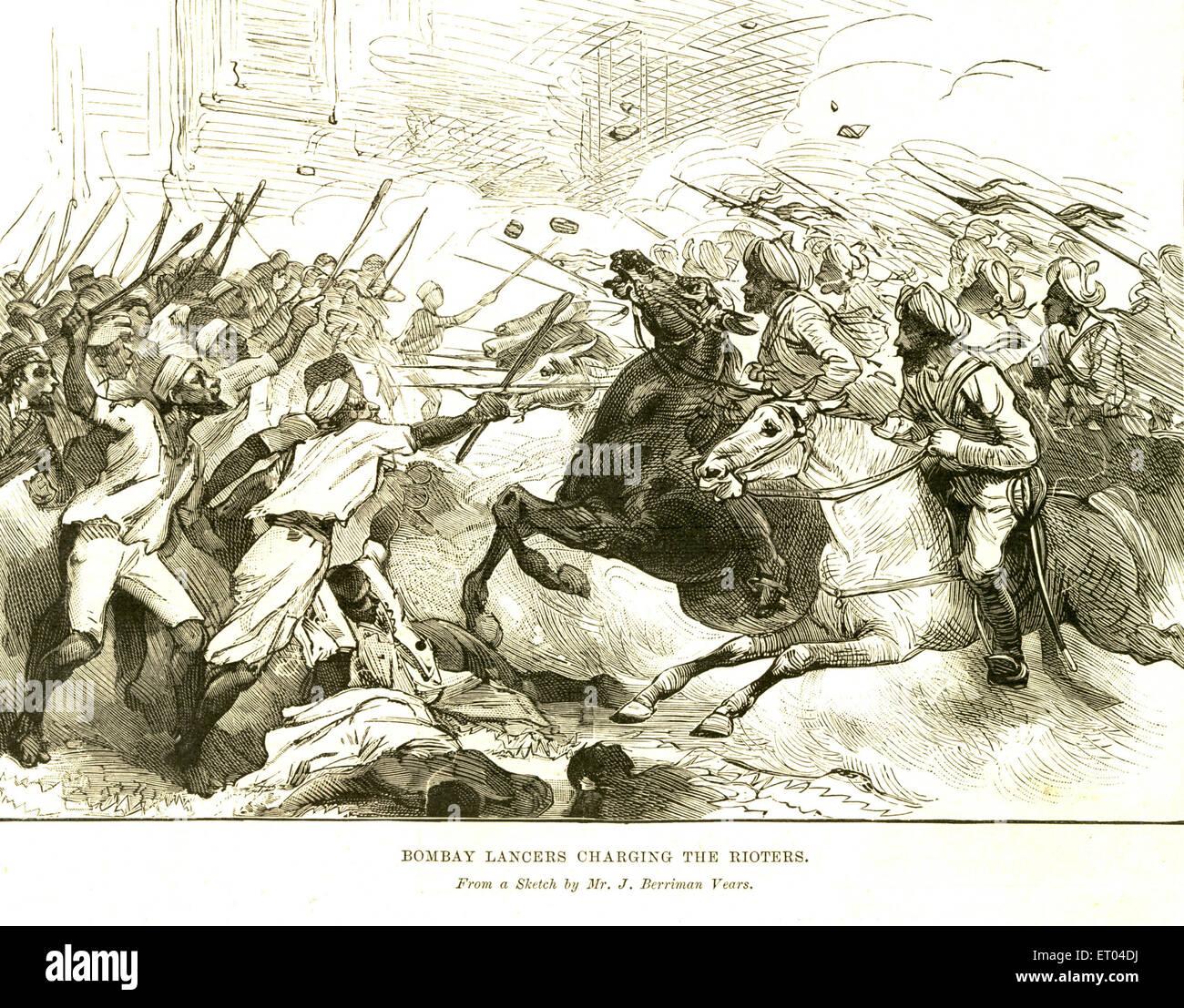 Bombay Lancers Charging the rioters ; 9th September 1893 ; Bombay now Mumbai ; Maharashtra ; India - Stock Image