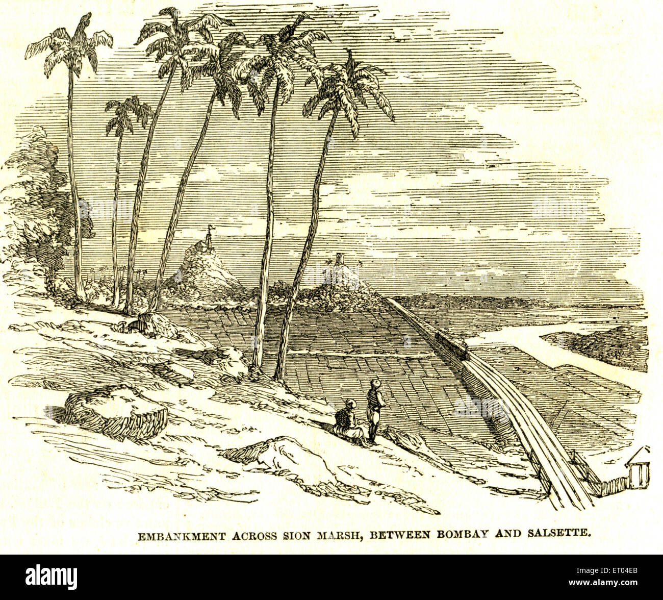 Embankment across Sion Marsh between Bombay and Salsette now New Mumbai ; 4th June 1853 ; Maharashtra ; India - Stock Image