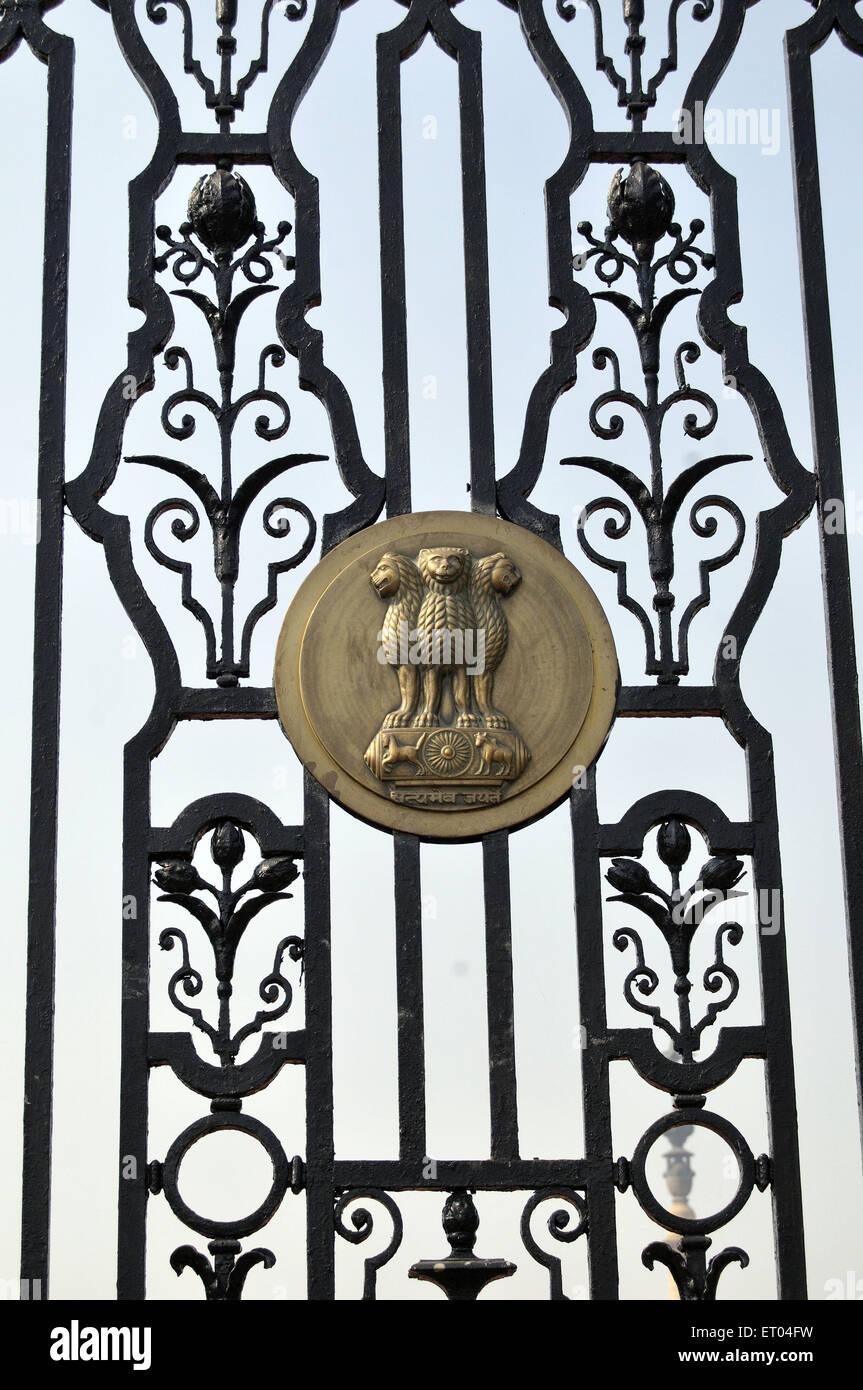 Indian national symbol on gate of rashtrapati bhavan at Delhi India - Stock Image