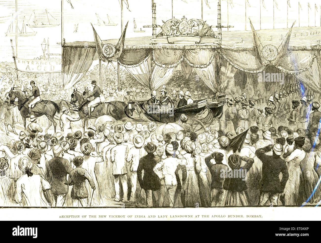Reception of the new viceroy of India and lady Lansdowne at the Apollo bunder ; Bombay now Mumbai ; Maharashtra - Stock Image
