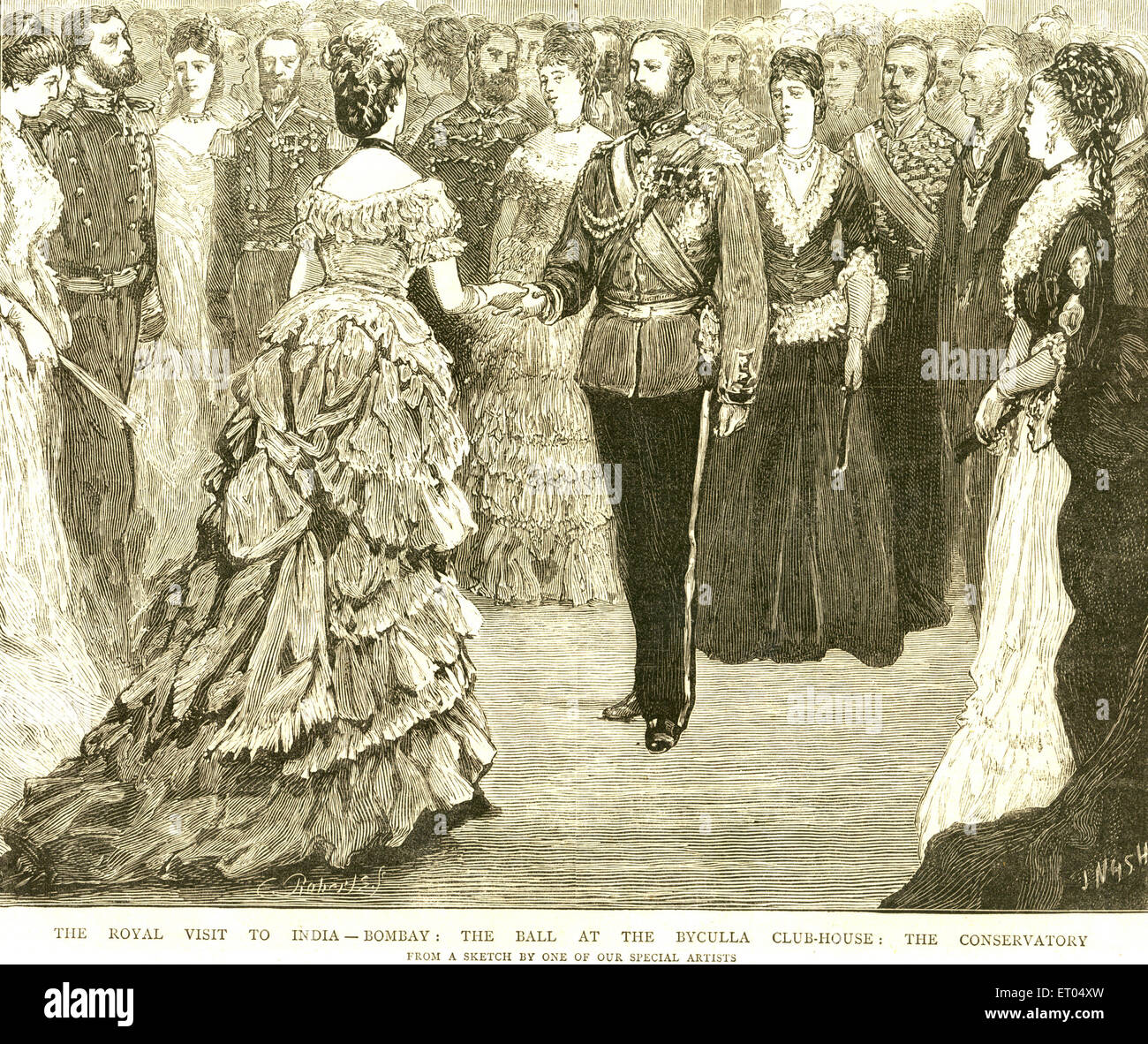 Royal visit to India ; the ball at the Byculla club ; 11th December 1875 ; Bombay now Mumbai ; Maharashtra ; India - Stock Image