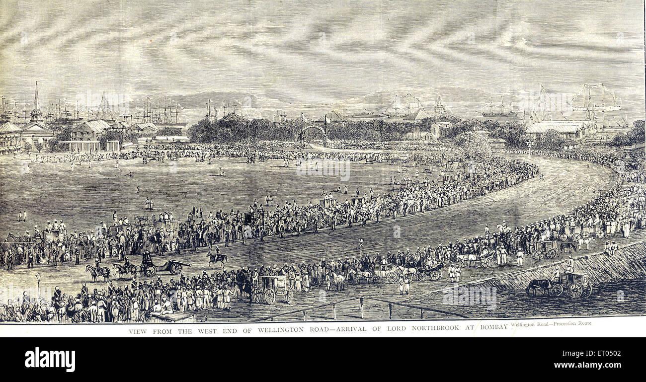 View from the west end of wellington road ; Bombay now Mumbai ; Maharashtra ; India - Stock Image