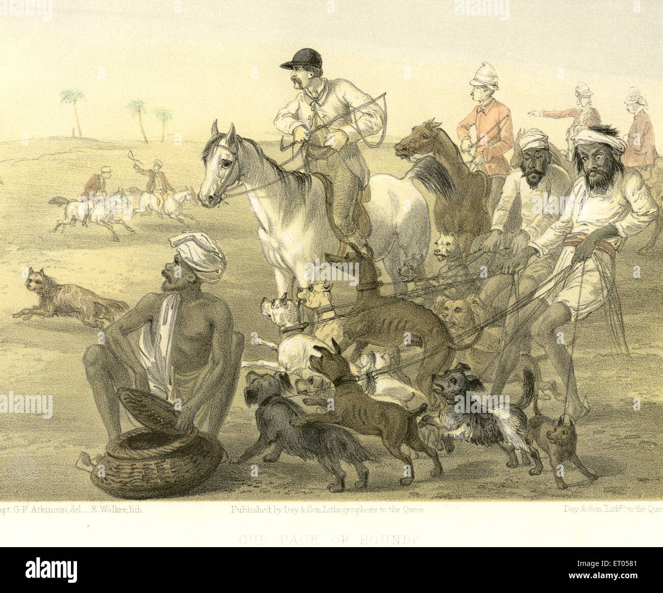 Colonial Indian images ; our pack of hounds ; India - Stock Image