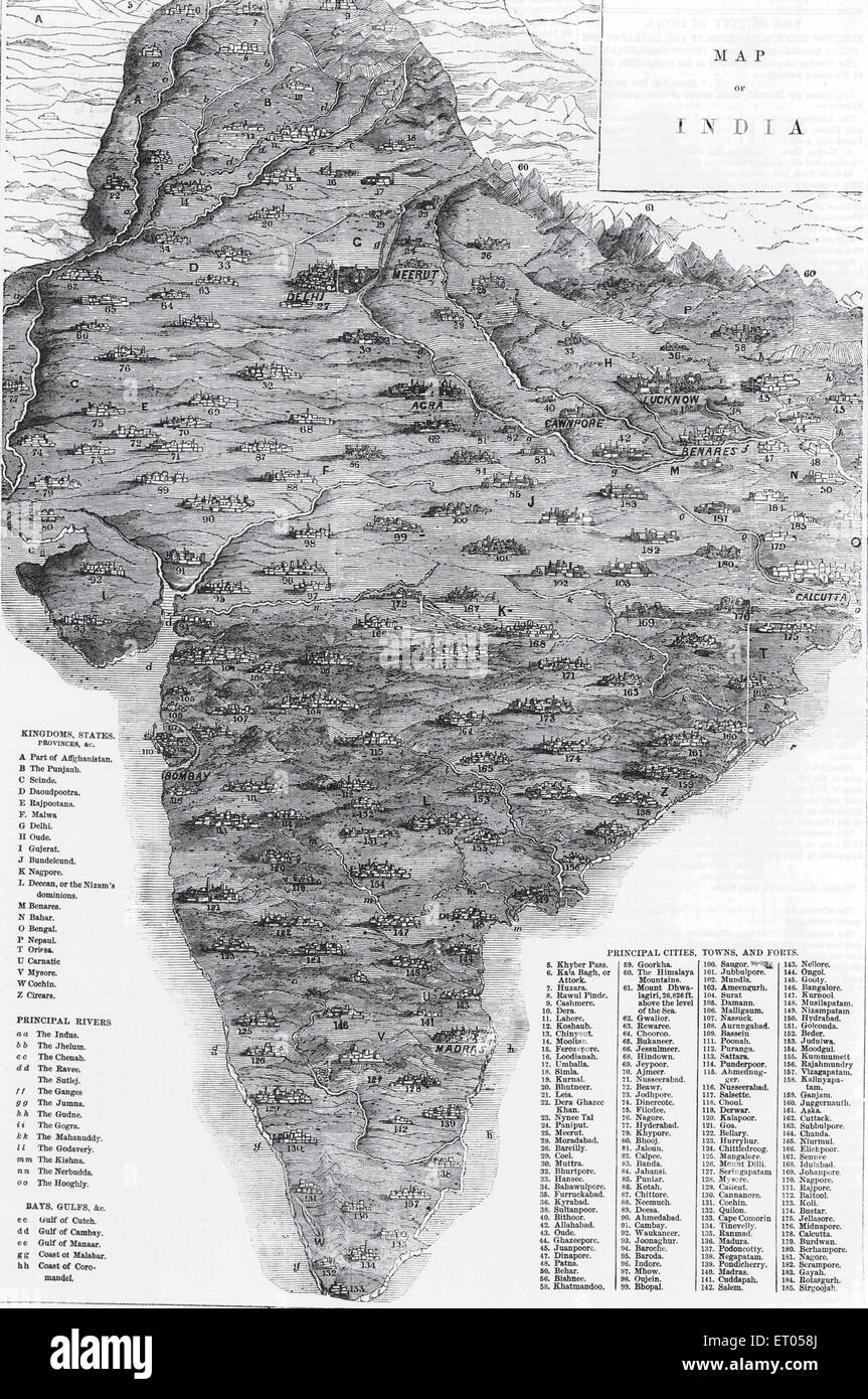 India Map With States Stock Photos & India Map With States Stock