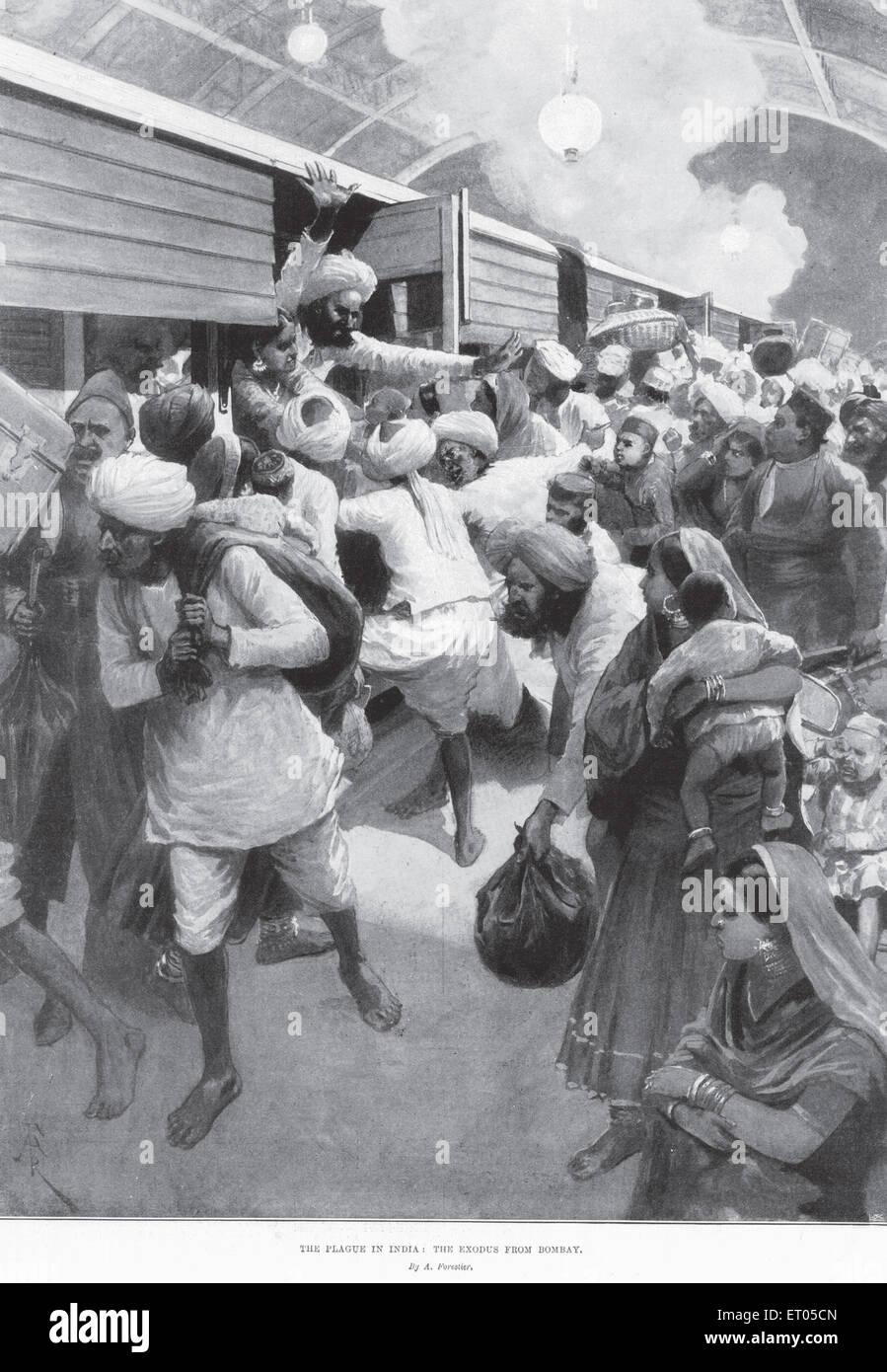 The plague epidemic ; the exodus from Bombay now Mumbai ; Maharashtra ; India - Stock Image
