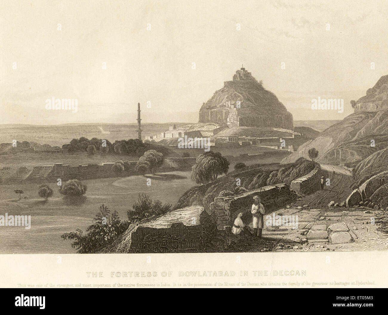 The fortress of Daulatabad in the deccan in the possession of the nizam ; Maharashtra ; India - Stock Image