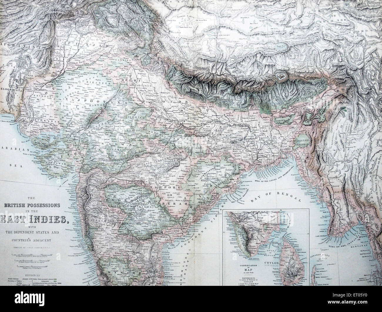 India map ; the british possession in the East India ; with the dependent states and countries adjacent - Stock Image