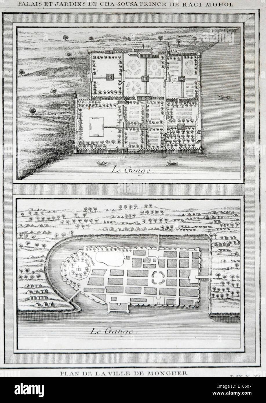 India map ; Palais et Jardins De Cha Sousa Prince de Ragi Mohol Plan De La Ville De Mongher - Stock Image