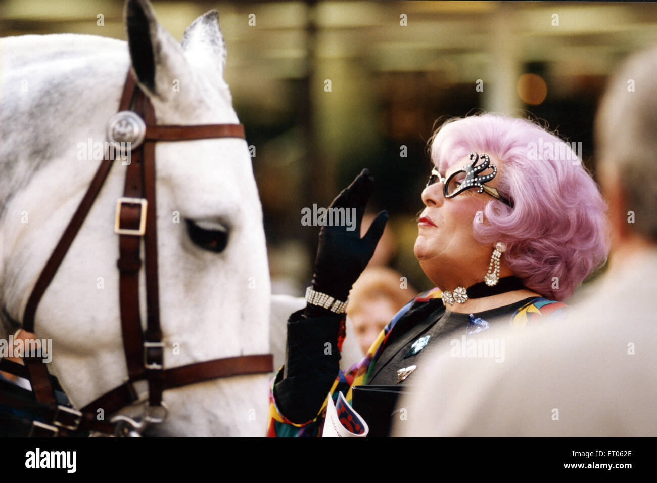 Dame Edna Everage aka Barry Humphries visits Newcastle. 28th November 1995. - Stock Image
