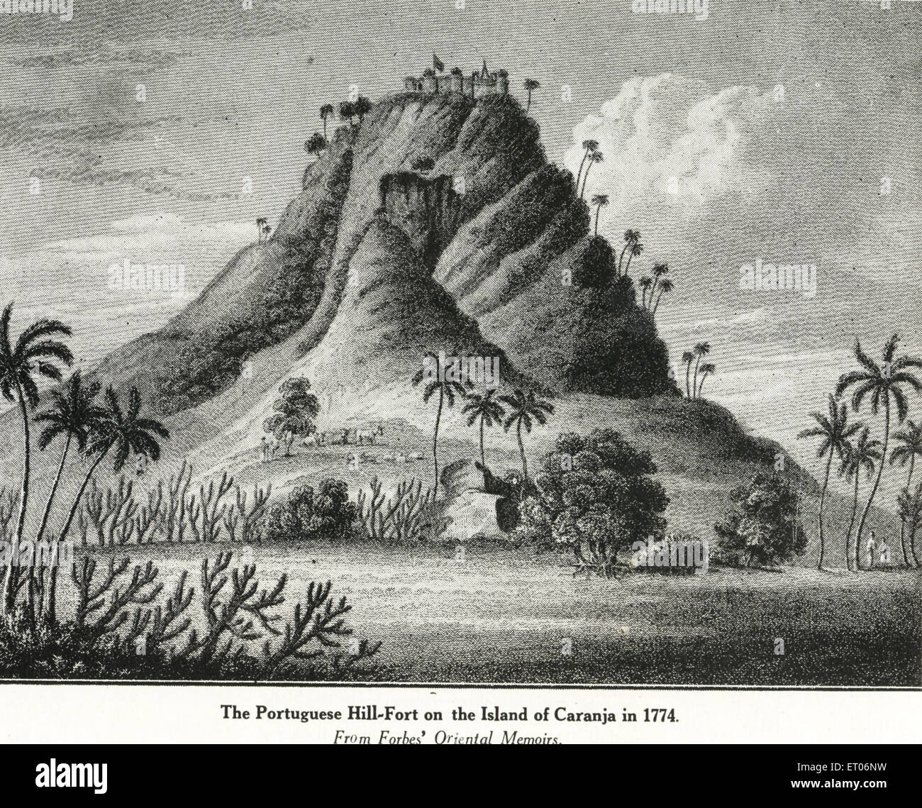 Catholic community Portuguese Hill Fort on Island of Caranja in 1774 - Stock Image
