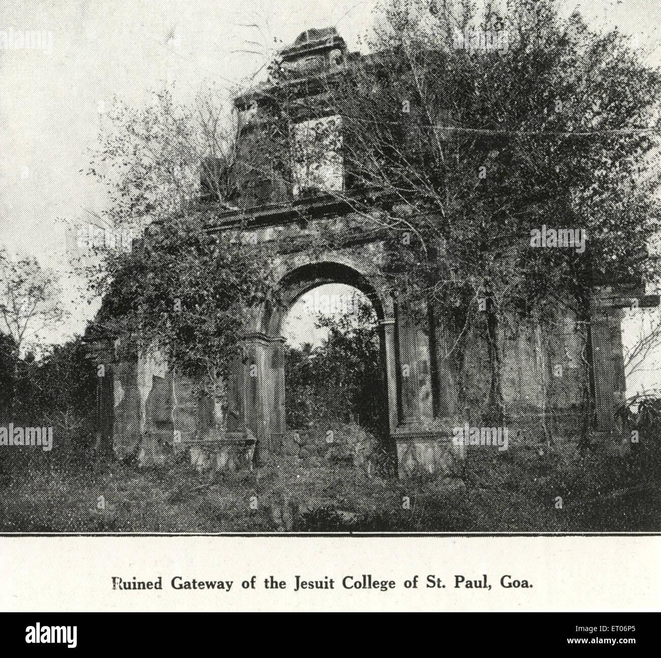 Catholic community ruined gateway of Jesuit College of St Paul ; Goa ; India - Stock Image