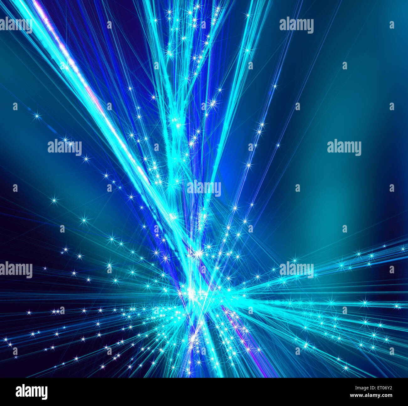 Frosty pattern shines from the center in the form of rays abstract fractal. Fractal art graphics. - Stock Image