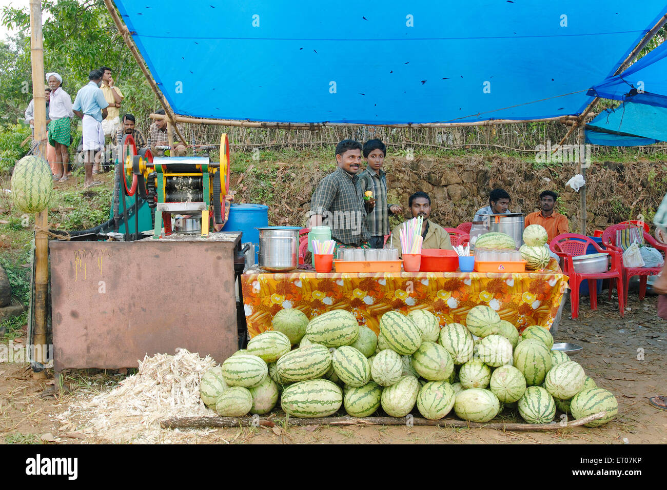 A  temporary juice shop in a village during a festival ; kerala ; India - Stock Image