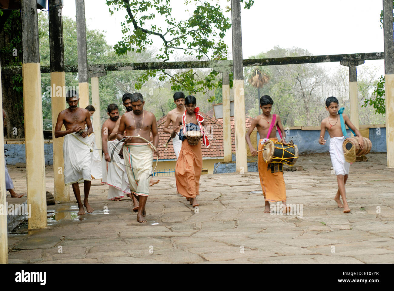 Sacred pooja considered as seeveli in temple ; Thiruvilwamala ; Kerala ; India - Stock Image