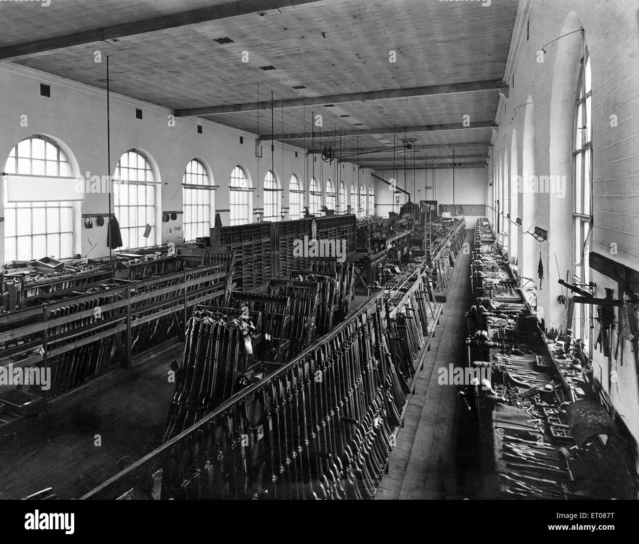 Interior of the Birmingham Small Arms Company Limited (BSA), Circa 1930s - Stock Image