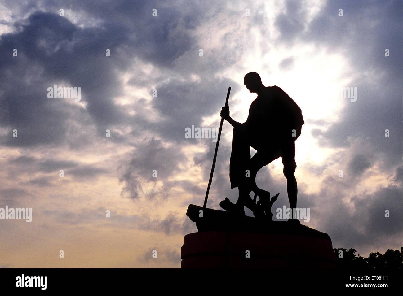 Mahatma gandhi statue at marina beach road ; Madras Chennai ; Tamil Nadu ; India - Stock Image