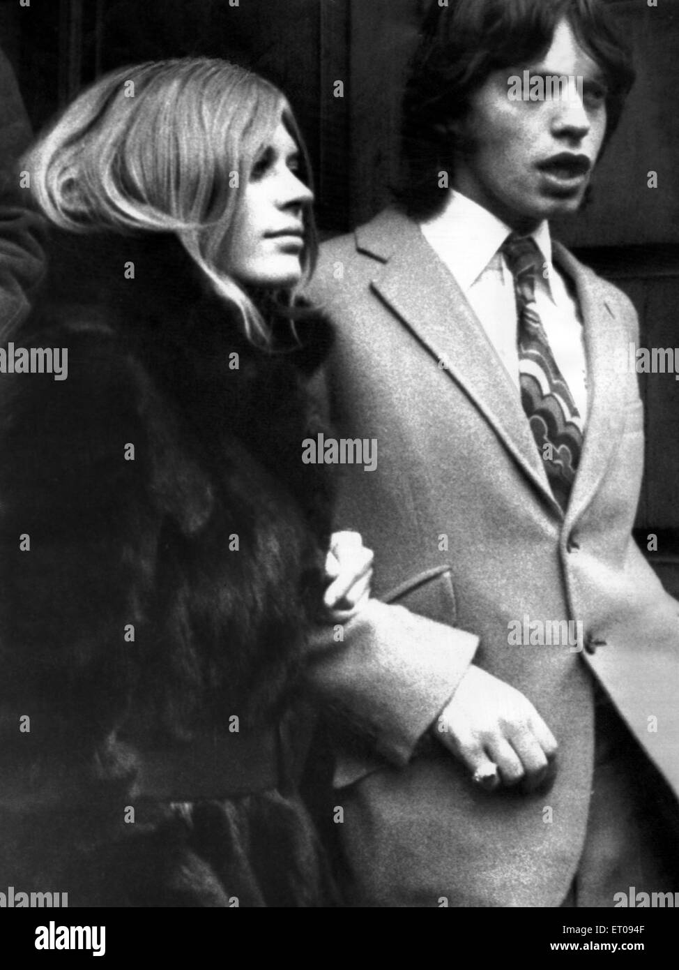 Marianne Faithfull and Mick Jagger on their way to court. 18th December 1969. - Stock Image