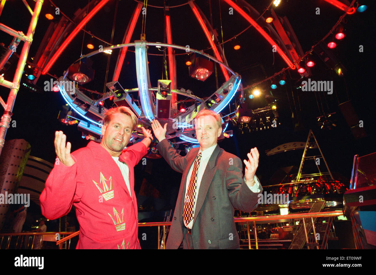 John Anderson, manager of The Visage, Stockton's new nightclub, pictured with Jason Reeve, Entertainment and - Stock Image