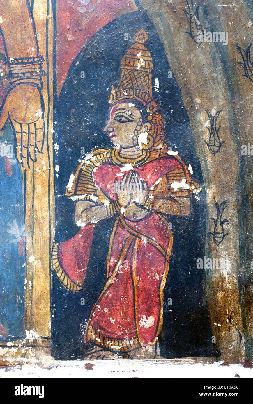 Seventeenth century murals on wall in Varadaraja Perumal Vishnu temple in  Kanchipuram ; Tamil Nadu ; India Stock Photo - Alamy