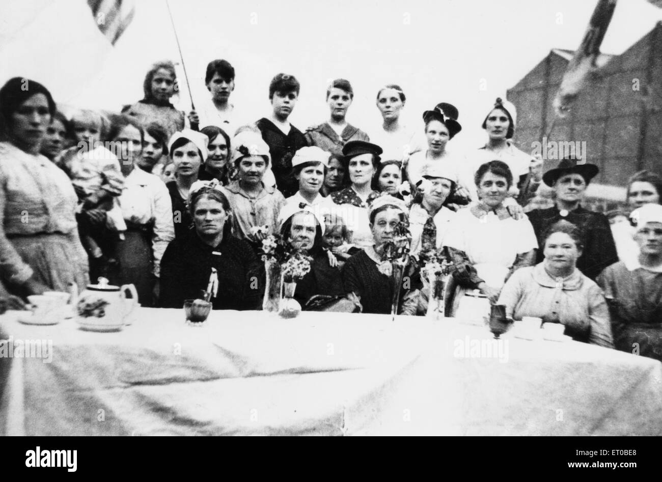 Peace tea party held in Liverpool 19th July 1919 - Stock Image