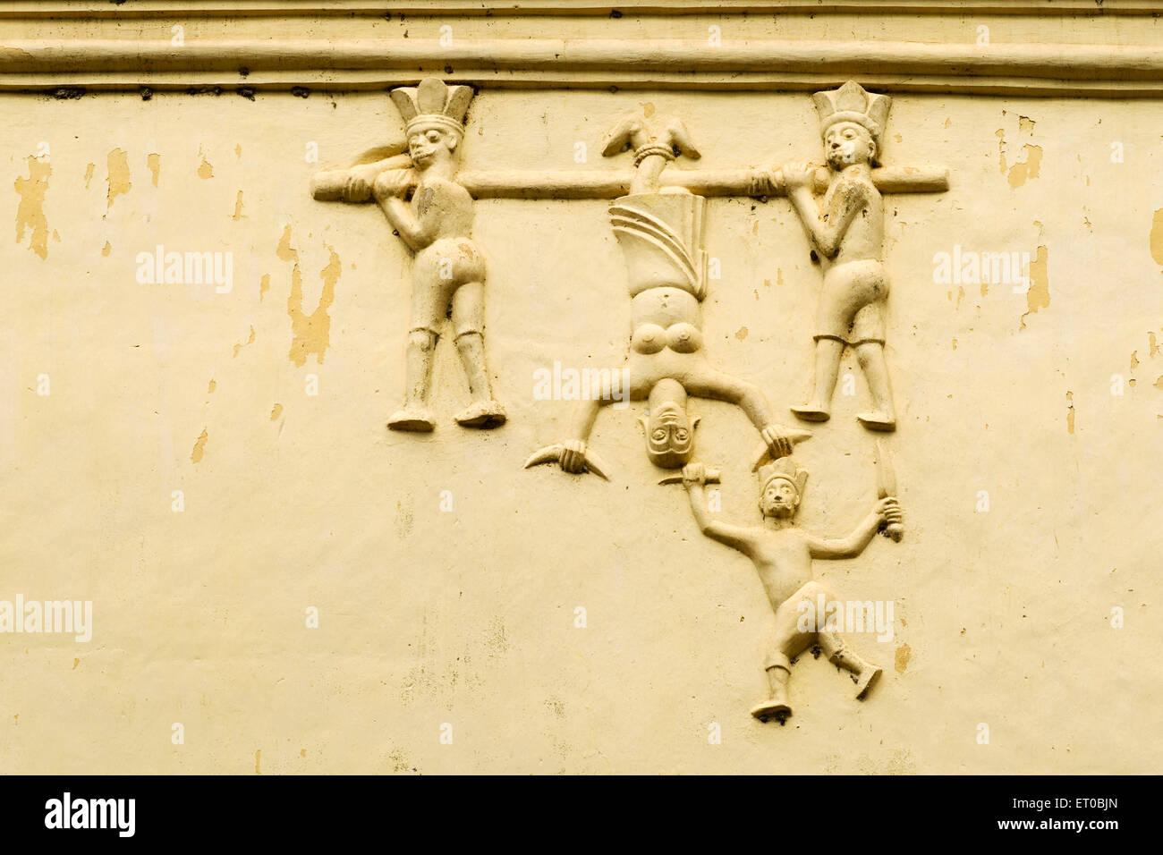 Stucco works on exterior wall of Mar Sabore Afroth Jacobite Syrian church at Akapparambu  ; Kerala ; India - Stock Image