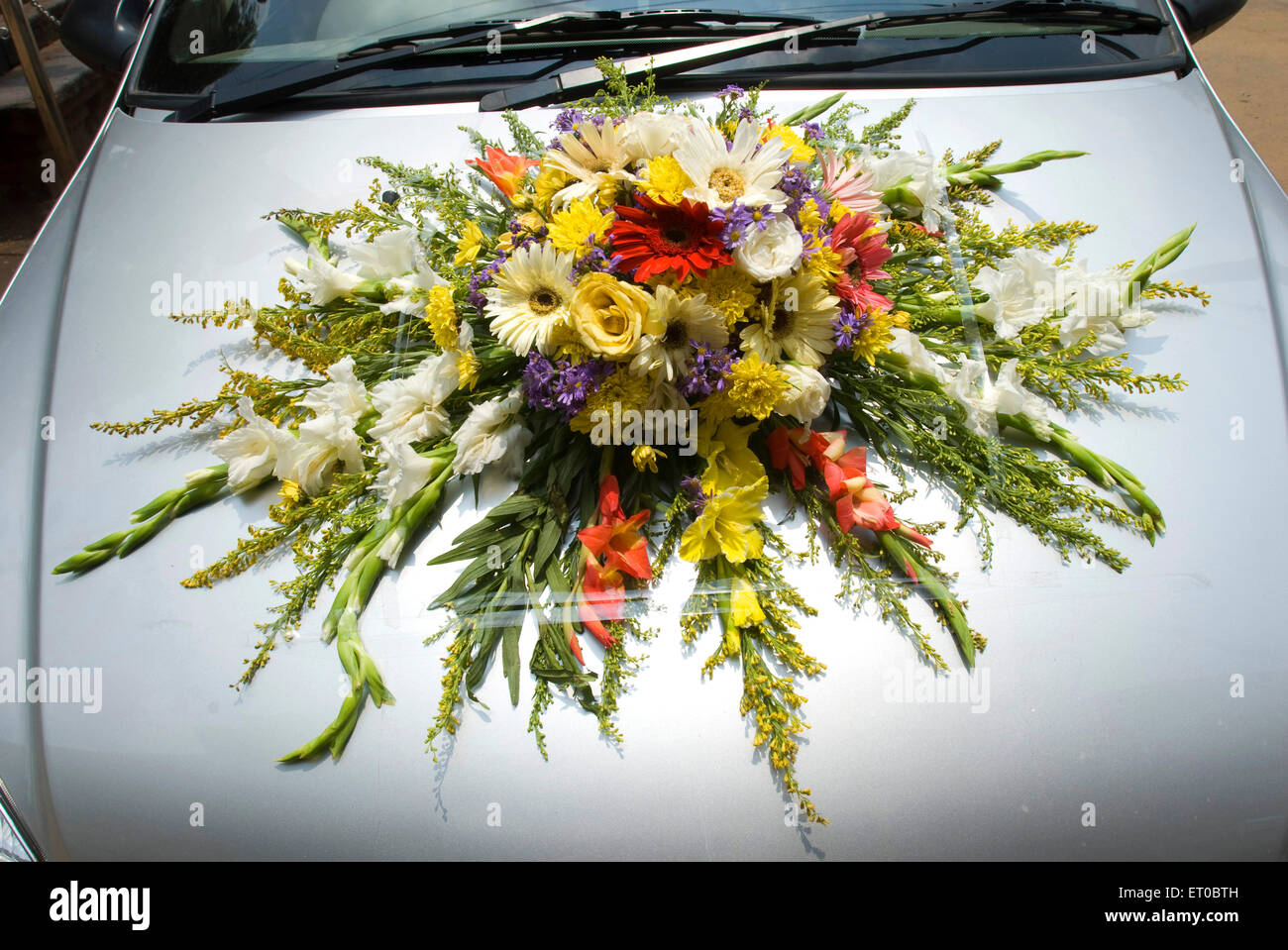 Decorated car for wedding procession ; Kerala ; India - Stock Image