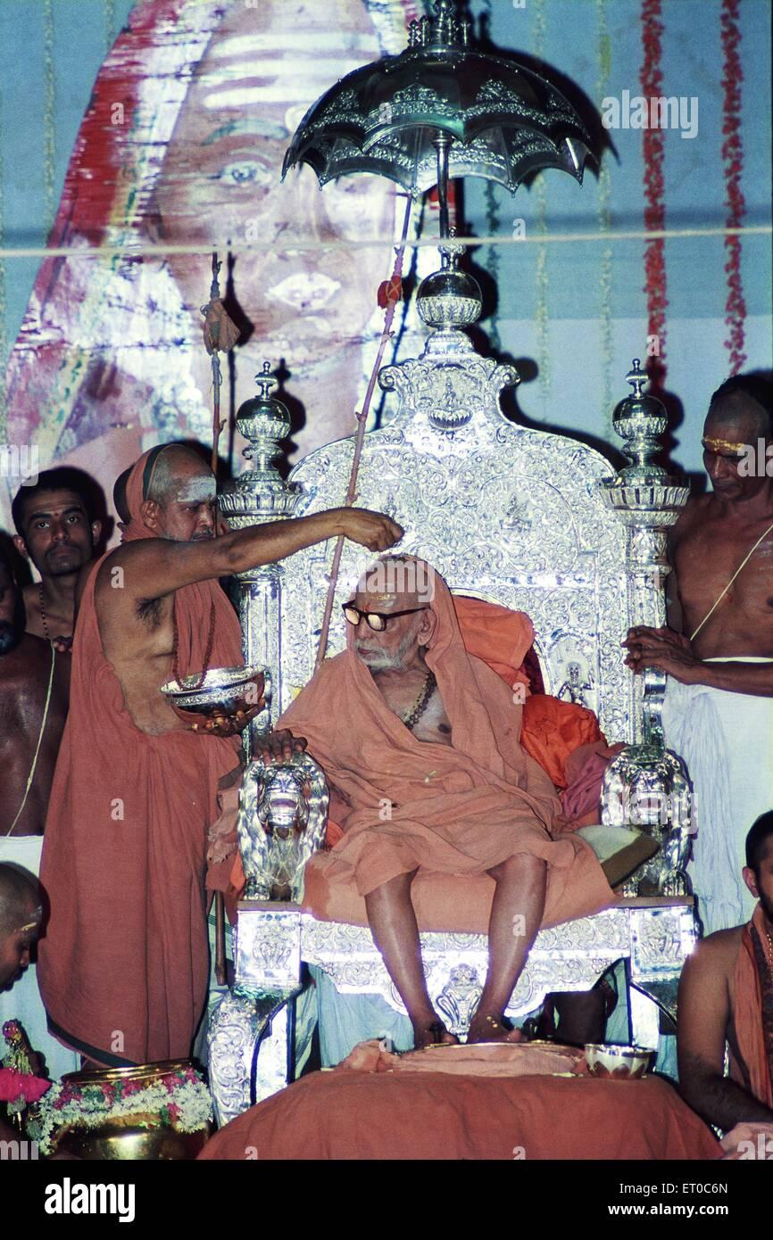 Swarnabhisekham hundredth anniversary of Kamakoti Peetam Sri Chandrasekarandra Saraswati Swamigal in Kanchipuram - Stock Image