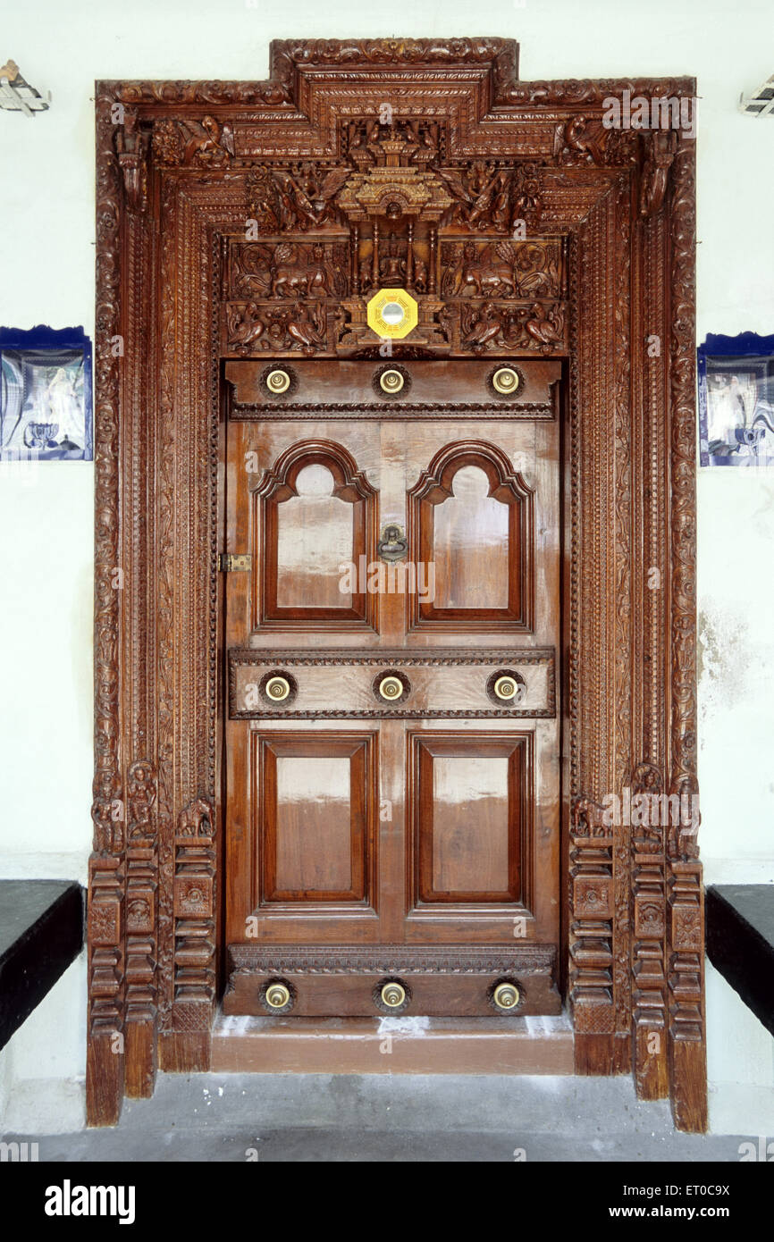 Door of old house ; Madras Chennai ; Tamil Nadu ; India - Stock Image & Old Indian Wooden House Doors Stock Photos u0026 Old Indian Wooden House ...