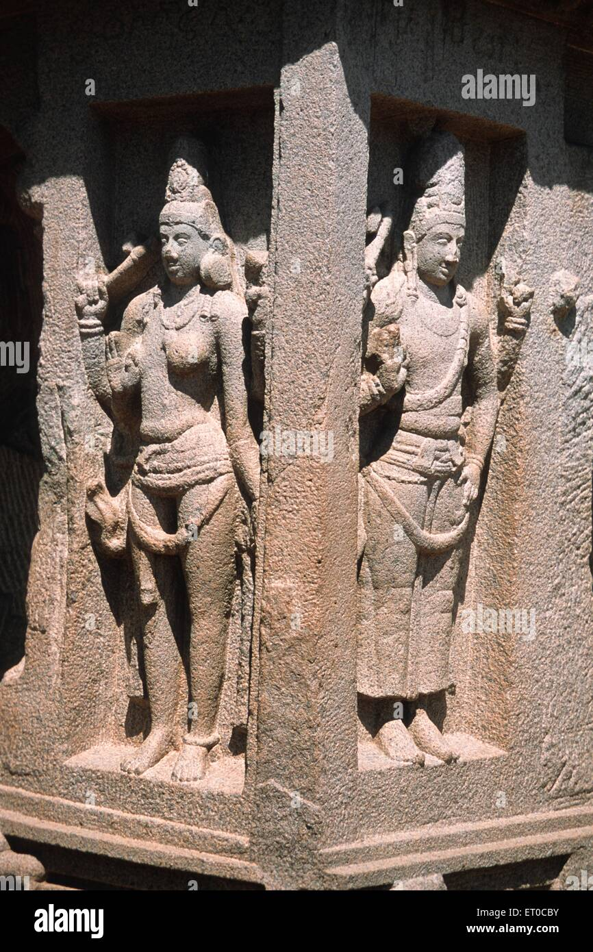 Ardhanarishvara combination of siva and parvath ; Tamil Nadu ; India - Stock Image