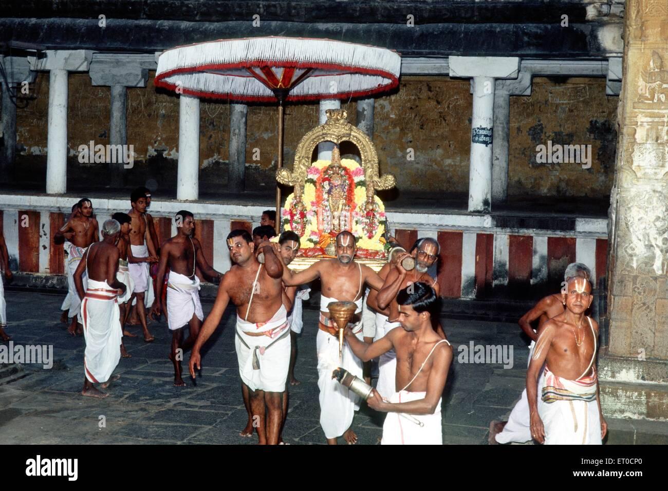Urchave deity of Varadarajaswamy in procession in Varadarajar temple Kanchipuram Tamil Nadu India - Stock Image