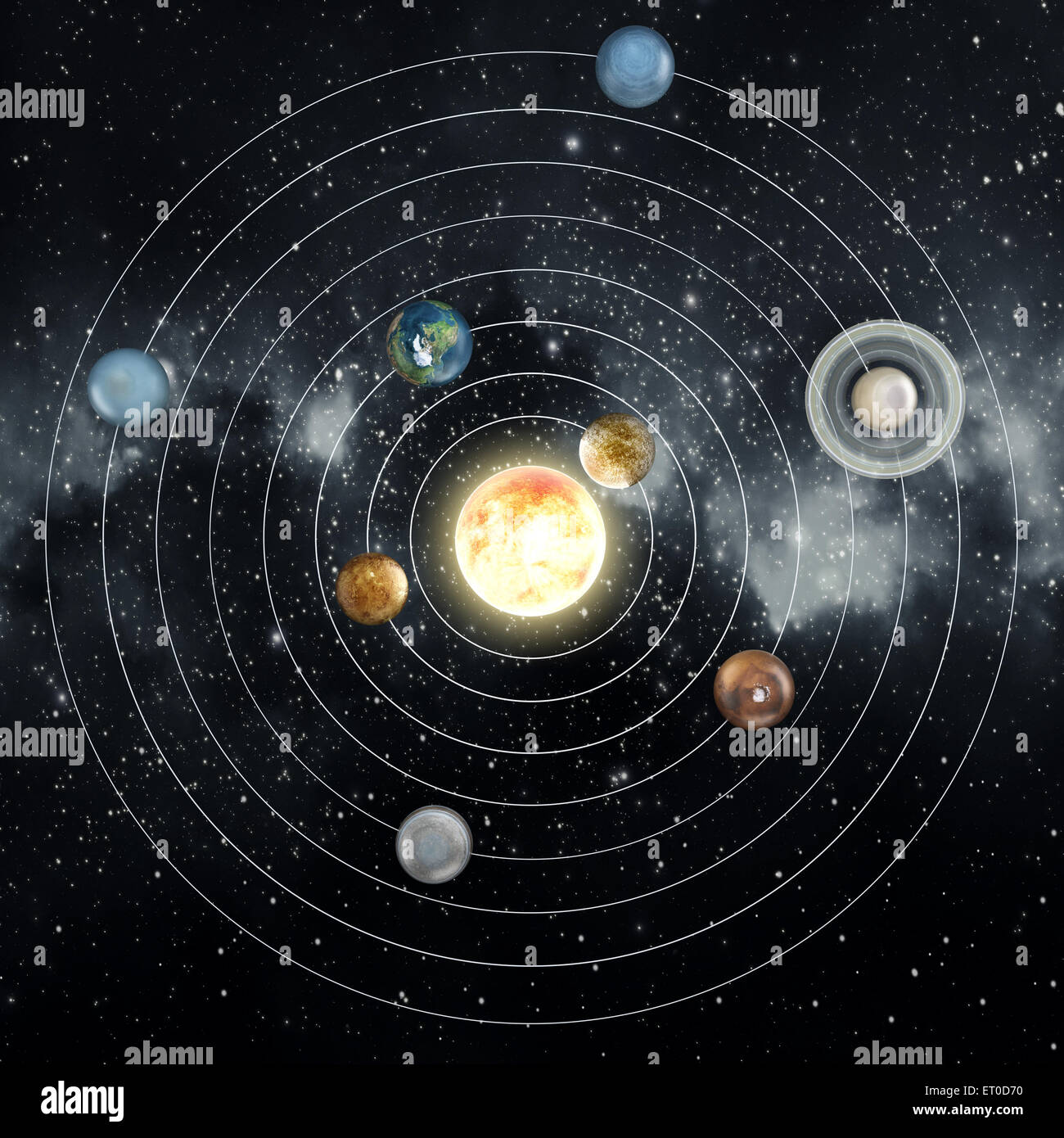 solar system diagram in the space stock photo 83603604 alamy rh alamy com diagram of solar system orbits diagram of solar system planets