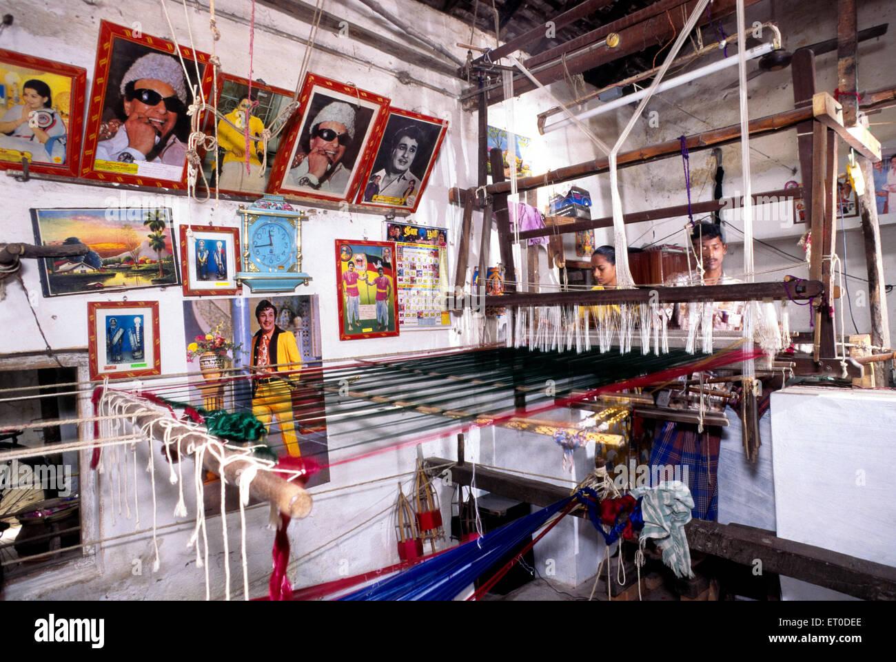 Kanchipuram silk woven by weavers ; Kanchipuram ; Tamil Nadu ; India NO MR - Stock Image
