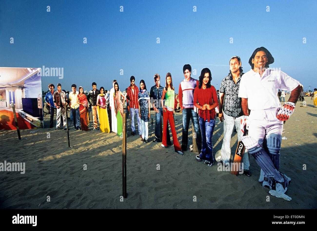 Cutouts at Marina Beach in Madras Chennai ; Tamil Nadu ; India NO MR - Stock Image