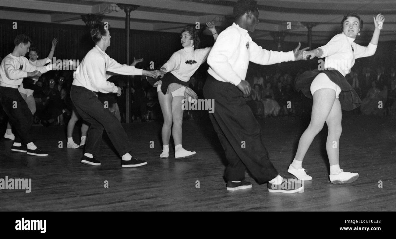 A group of people doing the jive.  21st March 1956. - Stock Image