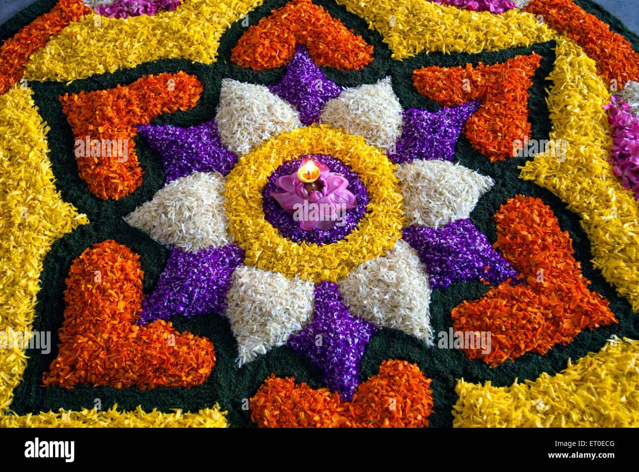 Flower Decoration For Onam Festival Kerala India