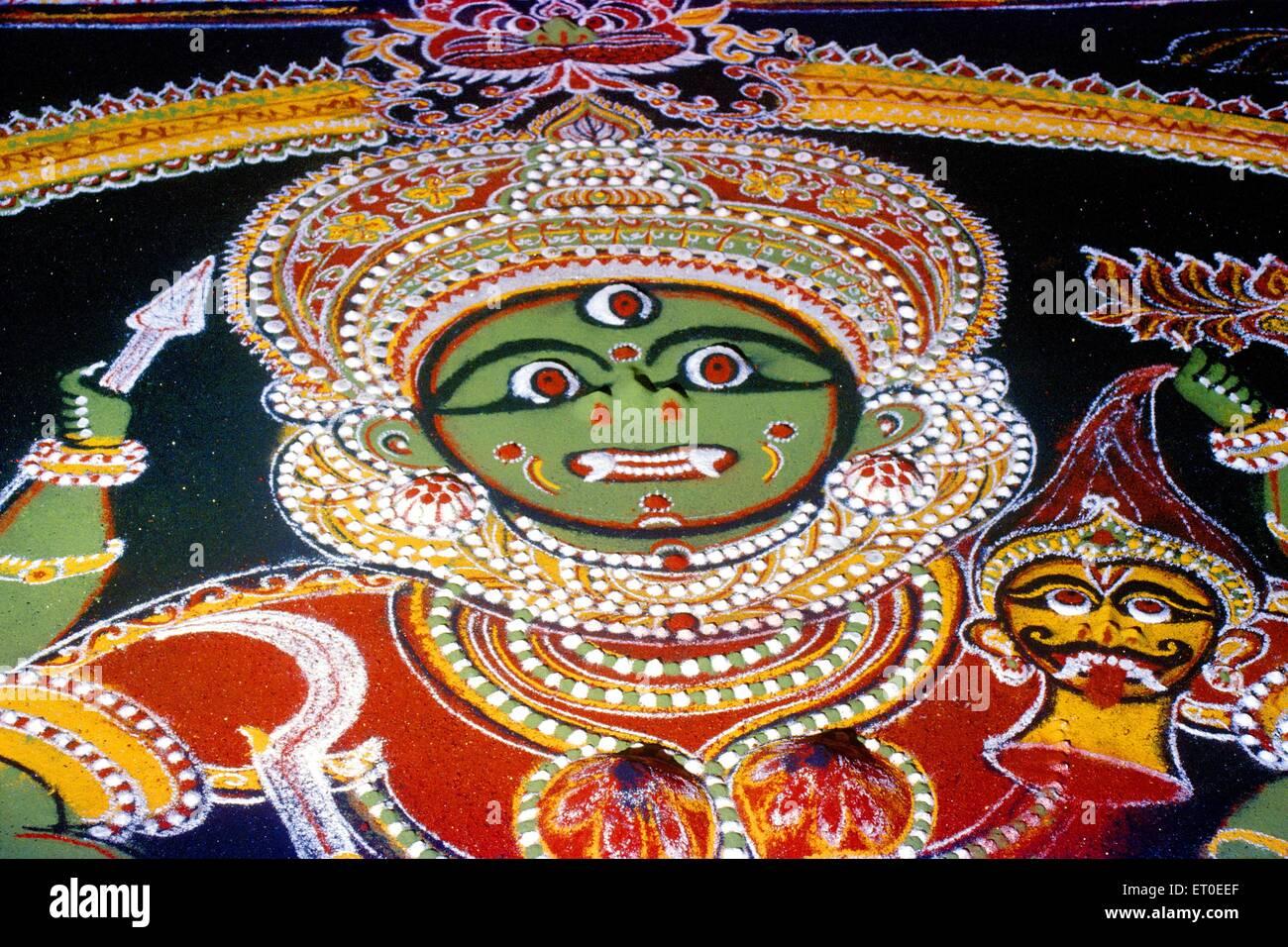 Rangoli  of the goddess at  ; Thrissur  ; Trichur  ; Kerala  ; India - Stock Image
