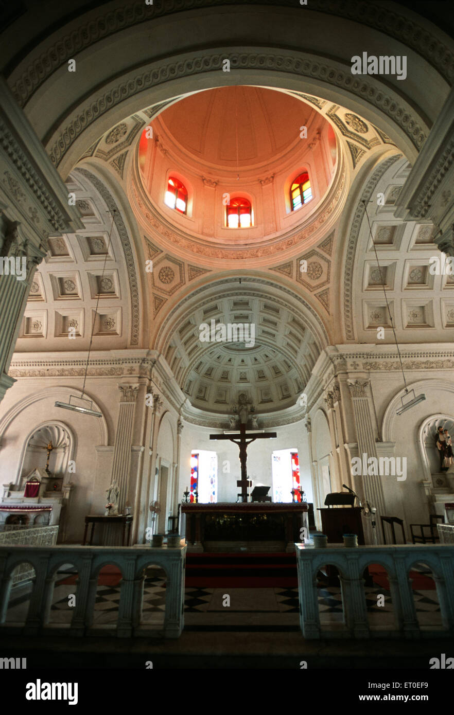 Interior in church our lady of angels ; Pondicherry ; Tamil Nadu ; India Stock Photo