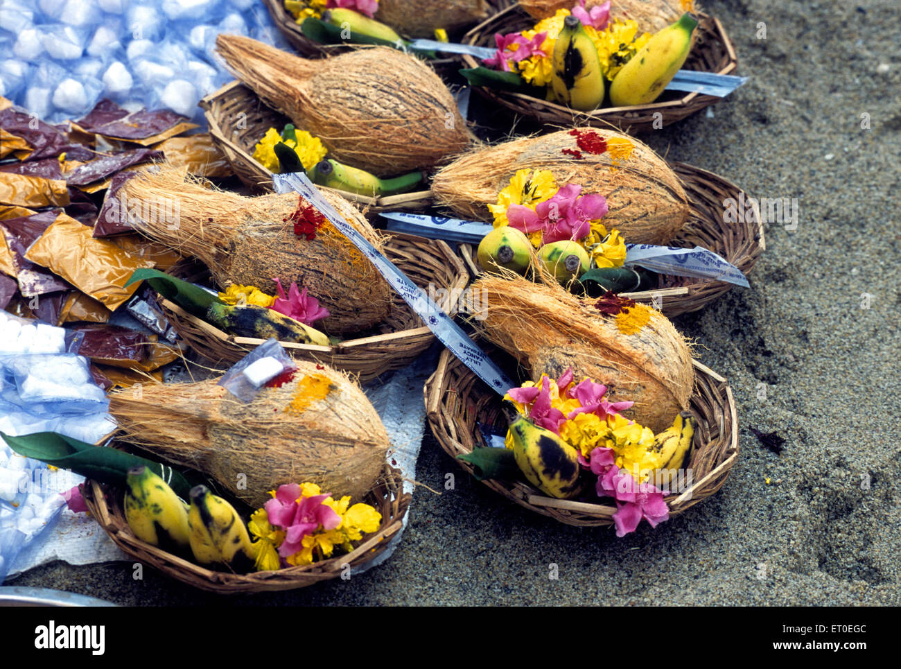 Pooja plates during masi magma festival in Pondicherry ; Tamil Nadu ; India - Stock Image