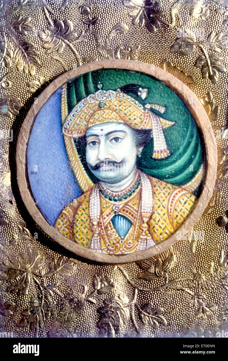 Painting of maratha king on ivory ; Tanjore ; Thanjavur ; Tamil Nadu ; India - Stock Image