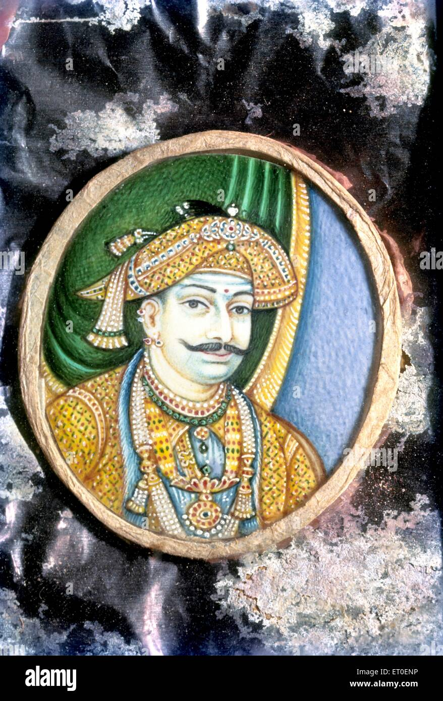 Painting of shivaji II on ivory ;Tanjore ;Thanjavur ; Tamil Nadu ; India - Stock Image