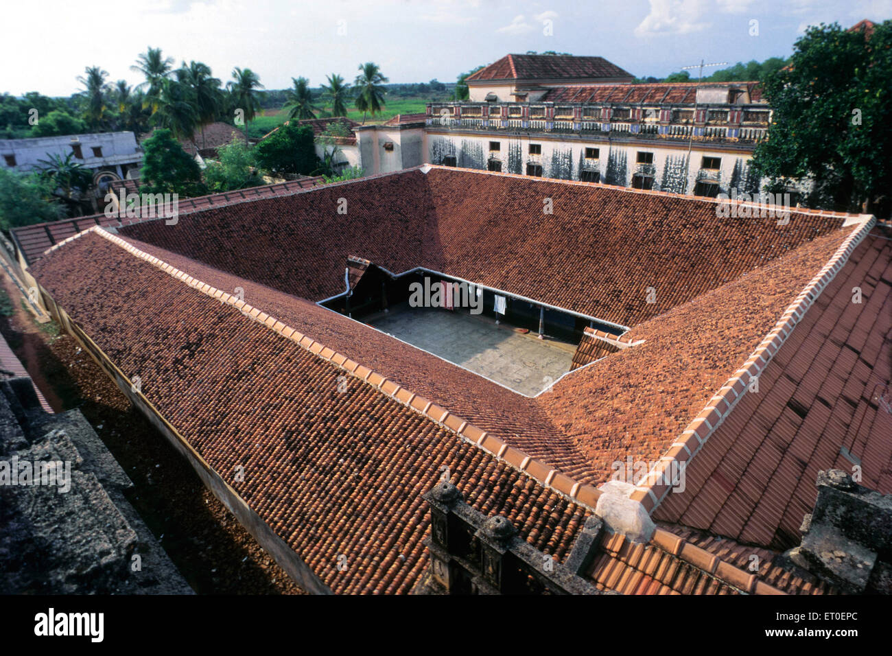 A birds eye view of a typical Chettinad village of mansions Tamil Nadu INDIA - Stock Image