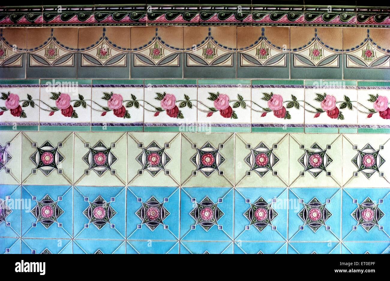 Wall tiles in Nattukottai Chettiar Nagarathar house of chettinad Tamil Nadu INDIA - Stock Image