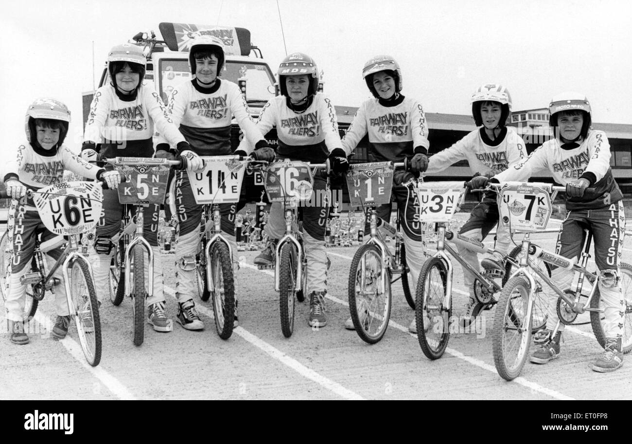 Cleveland's BMX champions The Fairway Flyers. Daihatsu have bestowed an honourable sponsorship deal upon these - Stock Image