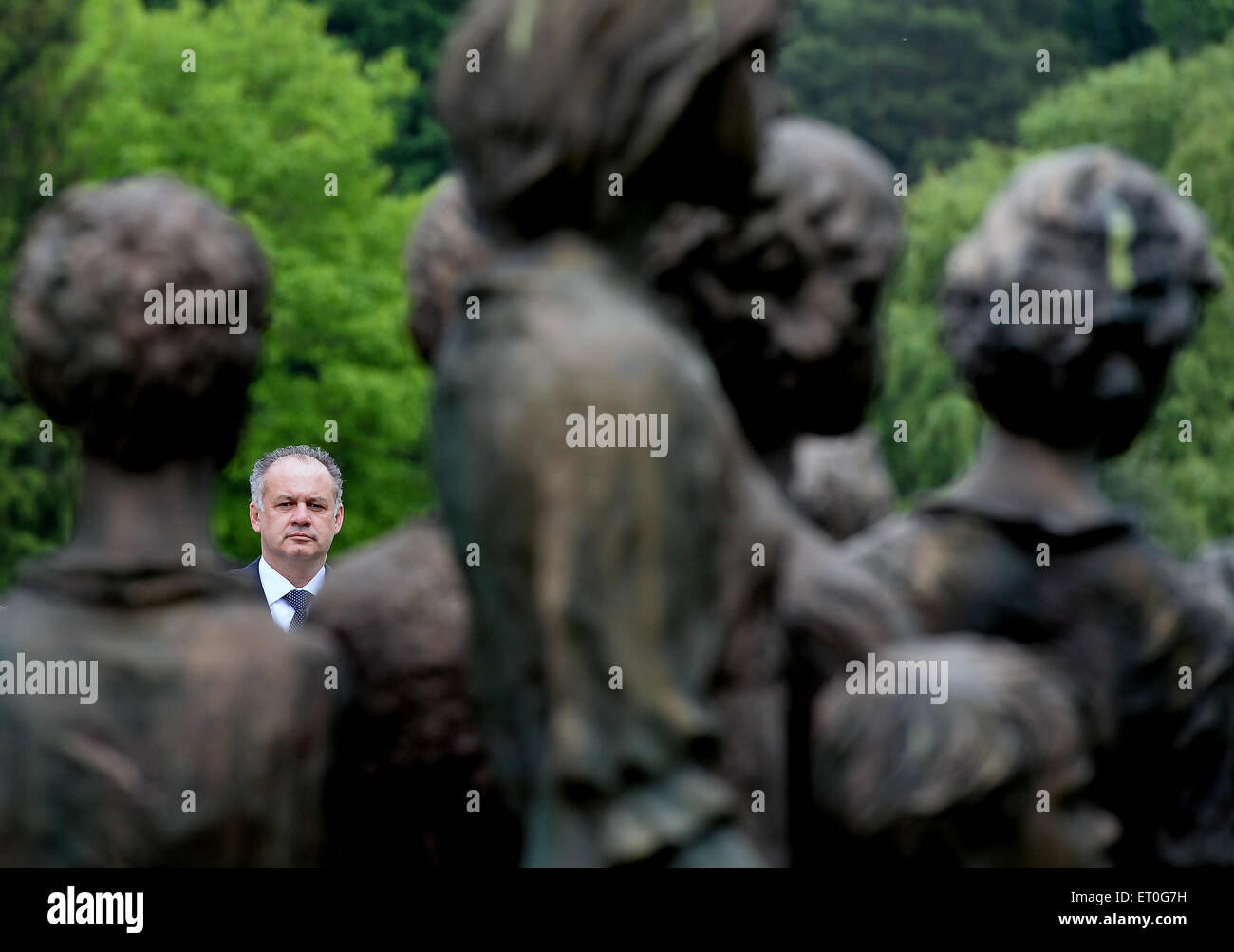 Slovak President Andrej Kiska visits the Czech Republic Lidice village paid tribute victims of Nazis, in Lidice, Stock Photo