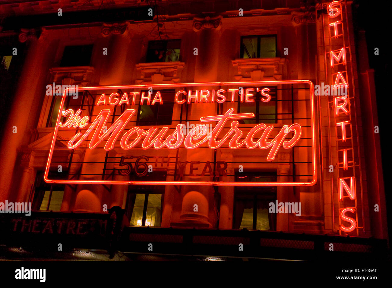 Agatha Christie Mousetrap at St Martins buildings illuminated red neon signboard ; London ; UK United Kingdom England - Stock Image